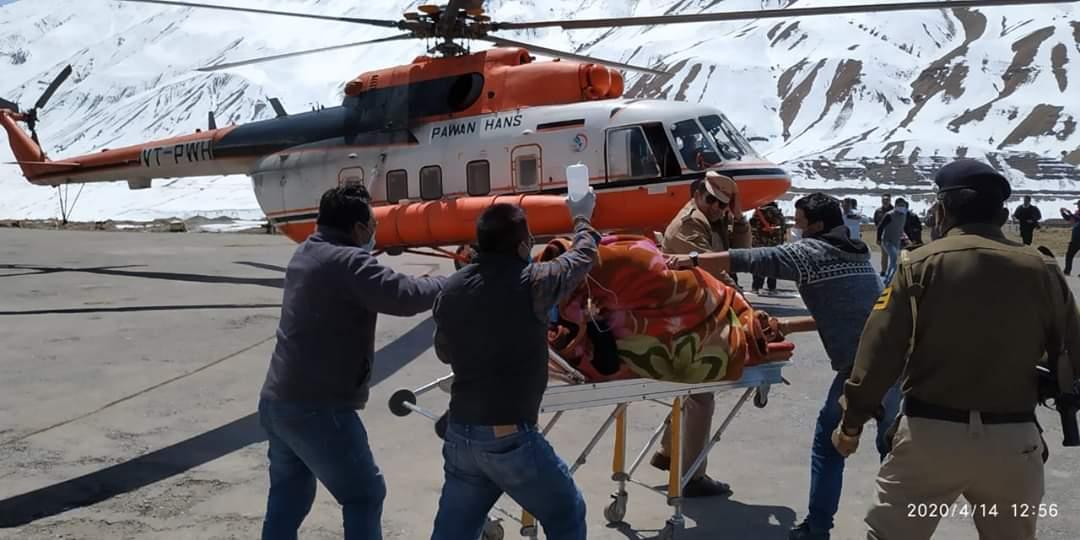 कोरोना के बीच अच्छी खबर:हिमाचल सरकार ने काजा से गर्भवती महिला को एयरलिफ्ट कर शिमला knh पहुंचाया